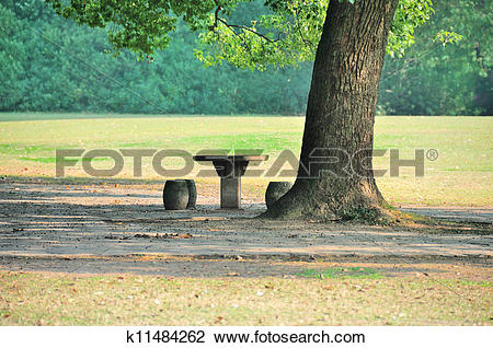 Stock Photo of Stone table and seat k11484262.