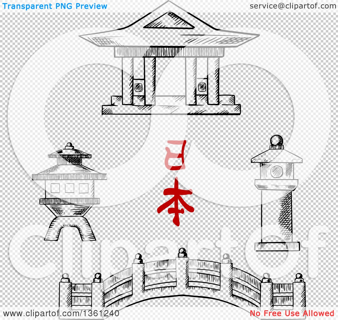 Clipart of a Black and White Sketched Japanese Bridge, Temple and.