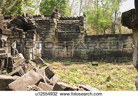 Stock Photo of Couple in Ancient Stone Temple u12554932.