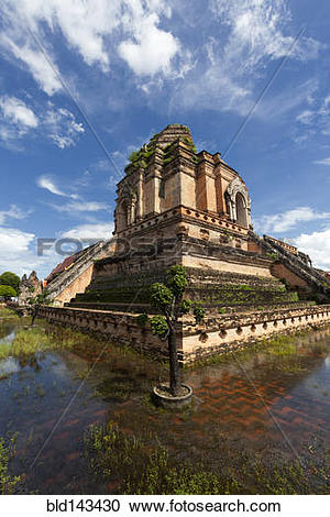 Stock Photography of Ornate stone temple and moat, Chiang Mai.