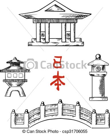 Clipart Vector of Japanese bridge, temple and stone lanterns.
