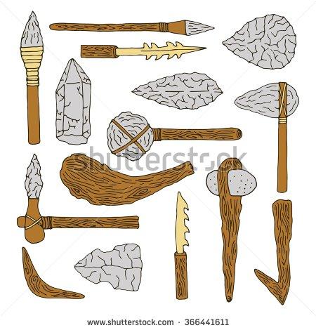 Stone age isolated tools set. Weapon caveman.