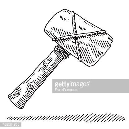 Stone Age Tool Hammer Drawing Vector Art.