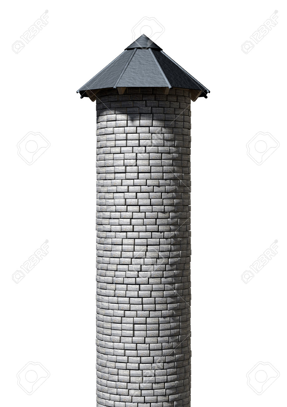 A Plain Stone Tower Turret With A Wood And Iron Roof On An.