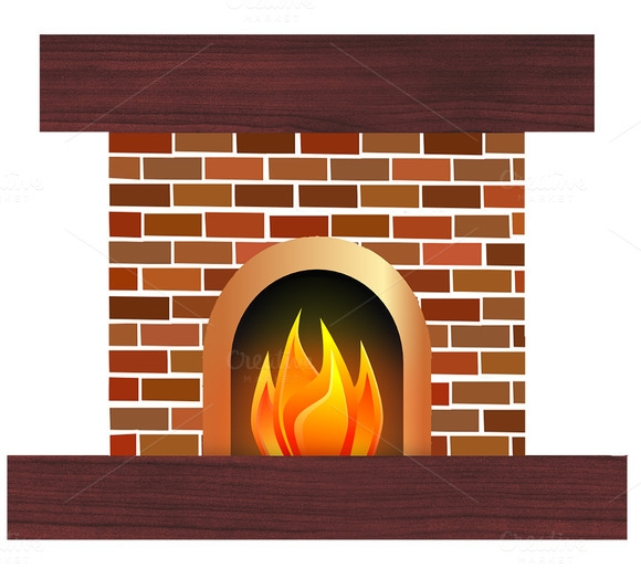 Stone Fireplace Clipart.