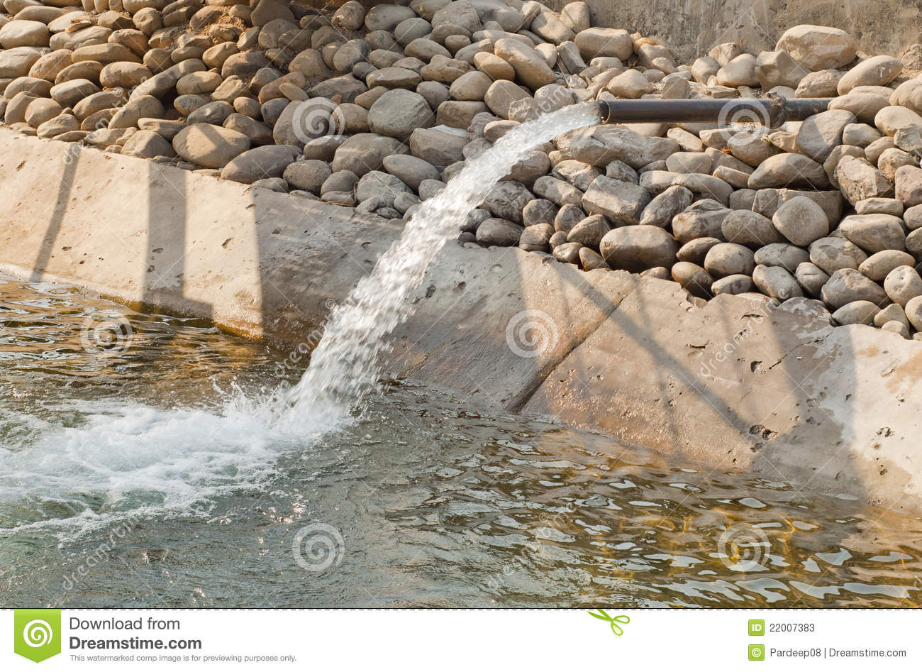 A Tube Well Filling A Canal Stock Photos.