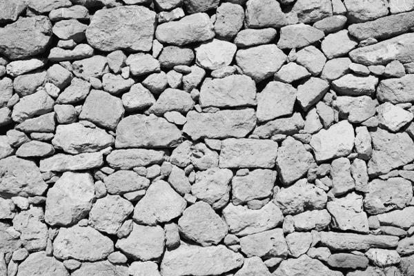 irregular stone wall.