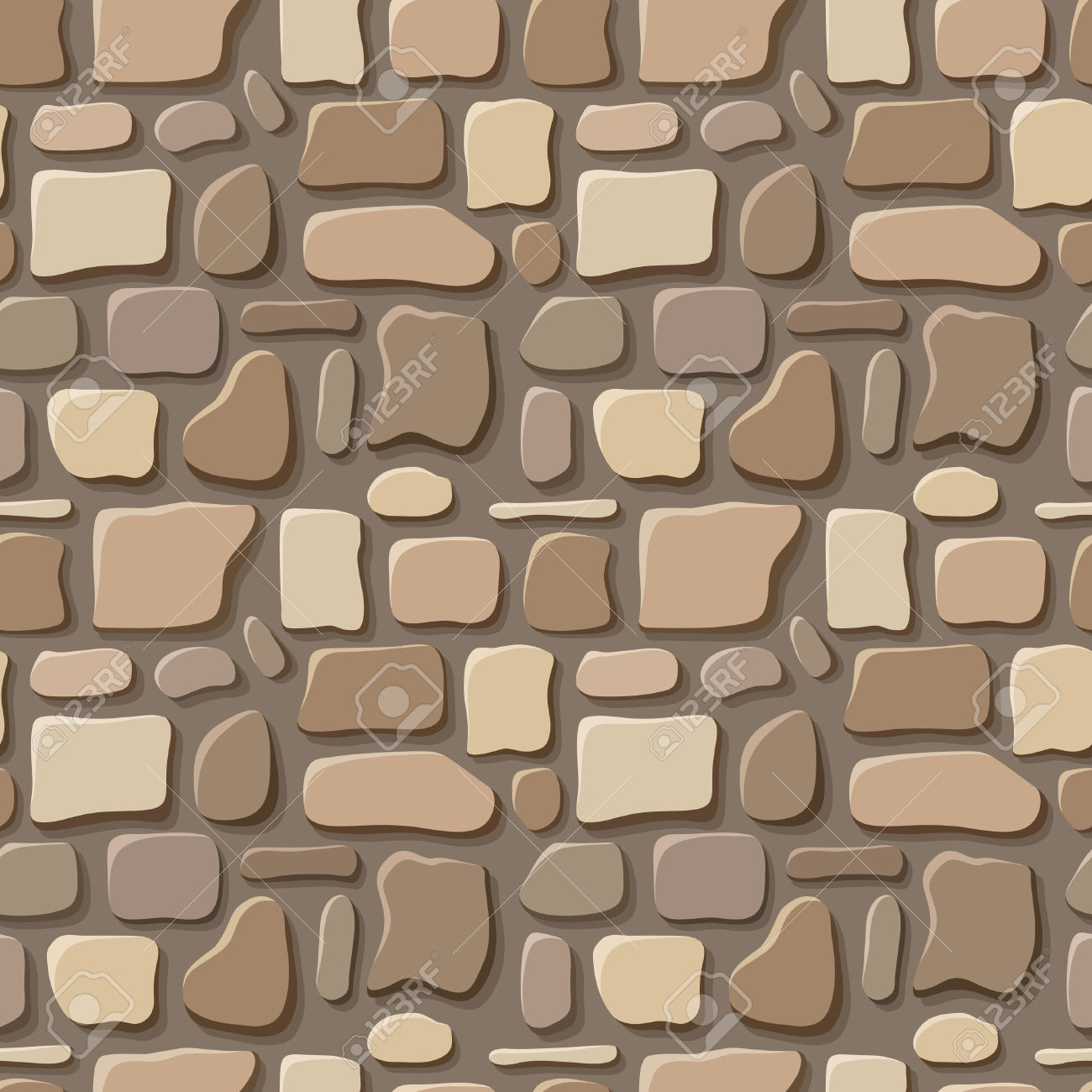 Seamless Texture Of Stone Wall Vector Illustration Royalty Free.