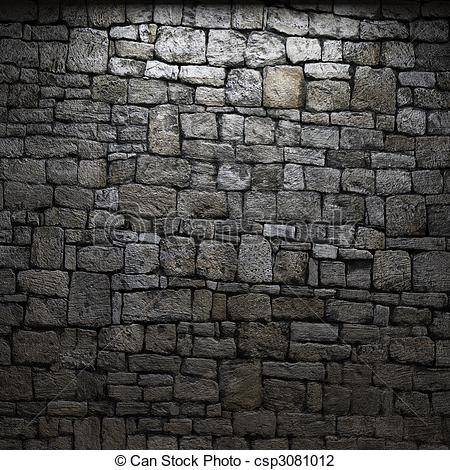 Clip Art of illuminated stone wall made in 3D graphics csp3081012.