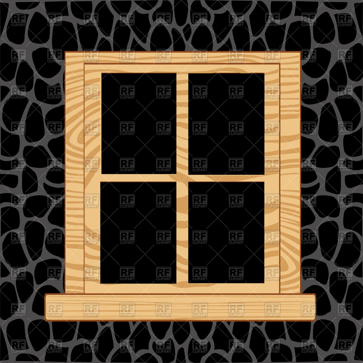 Wooden window in wall from stone Vector Image #91369.