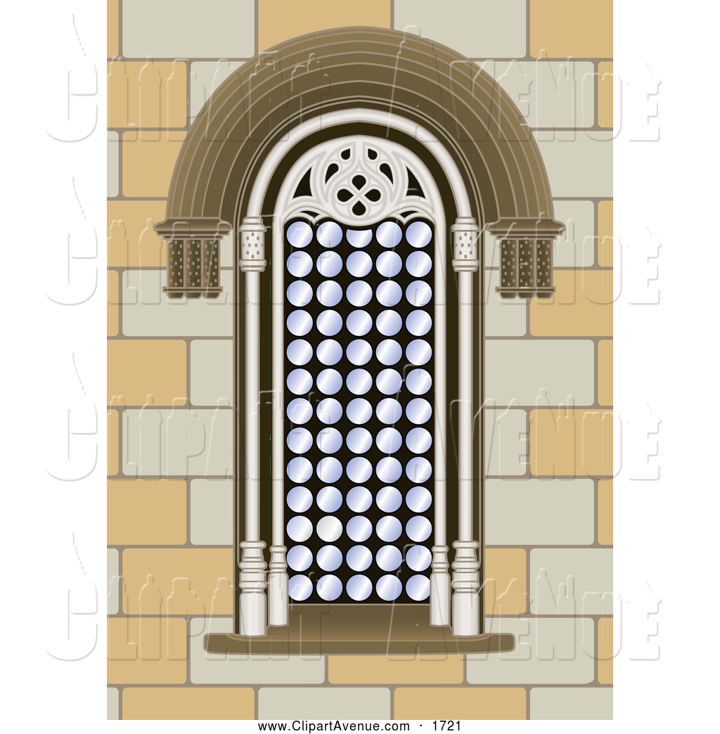 Avenue Clipart of an Arched Window in a Stone Building by Frisko.
