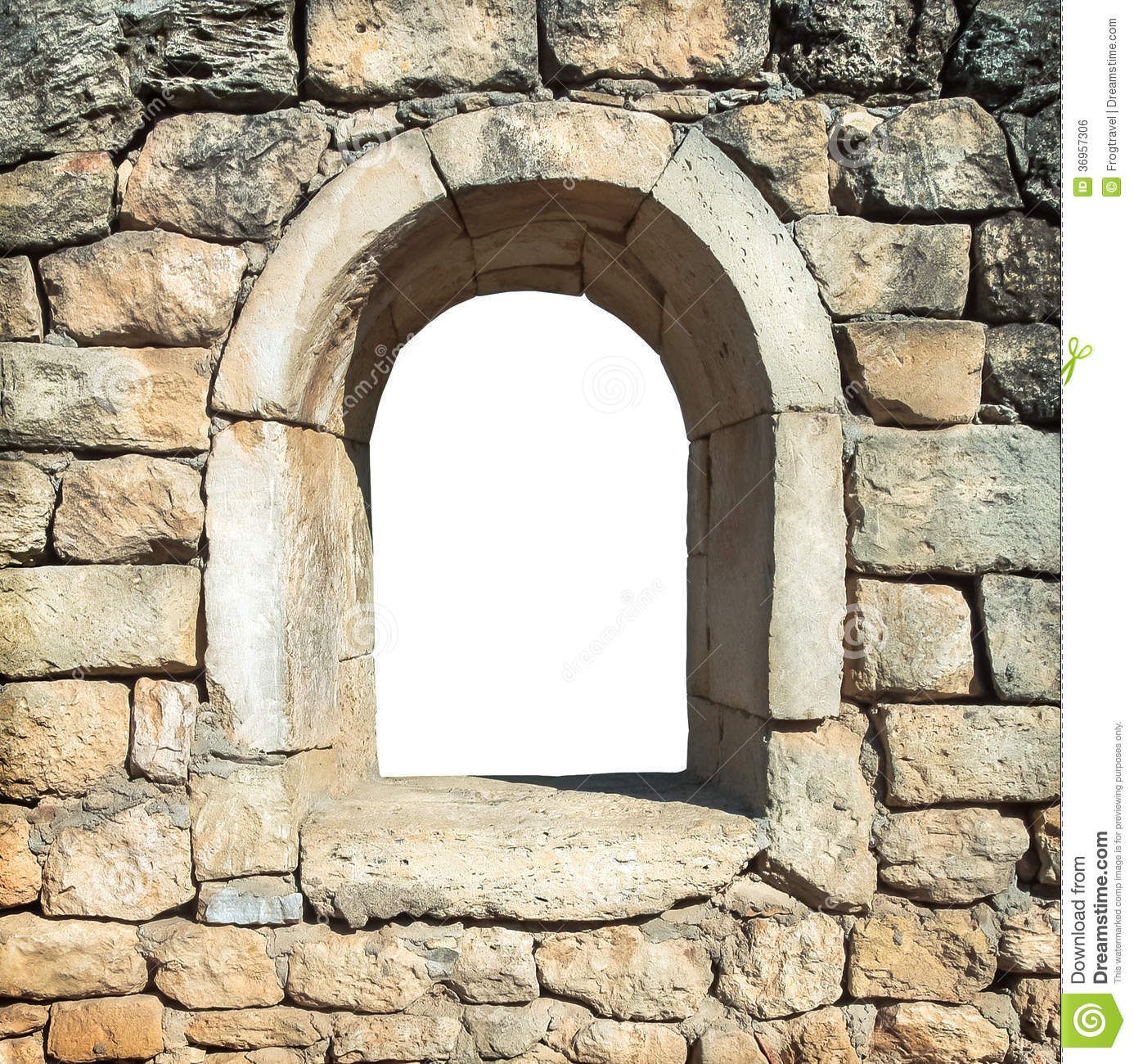 Stone Framing Of The Old Window Stock Photo.