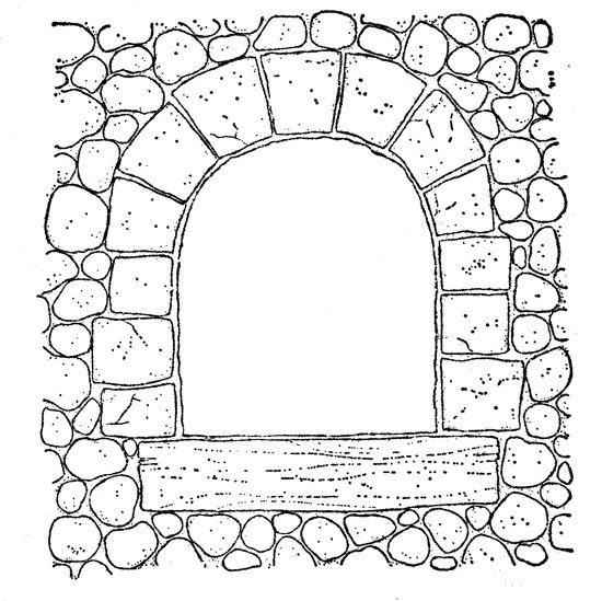 stone window arch.