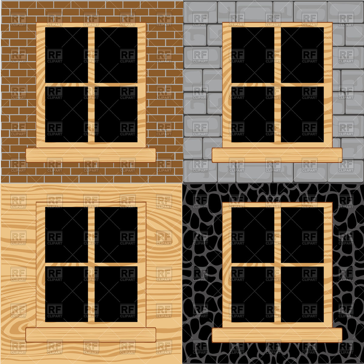 Wooden windows in wall from stone,brick and tree Vector Image.
