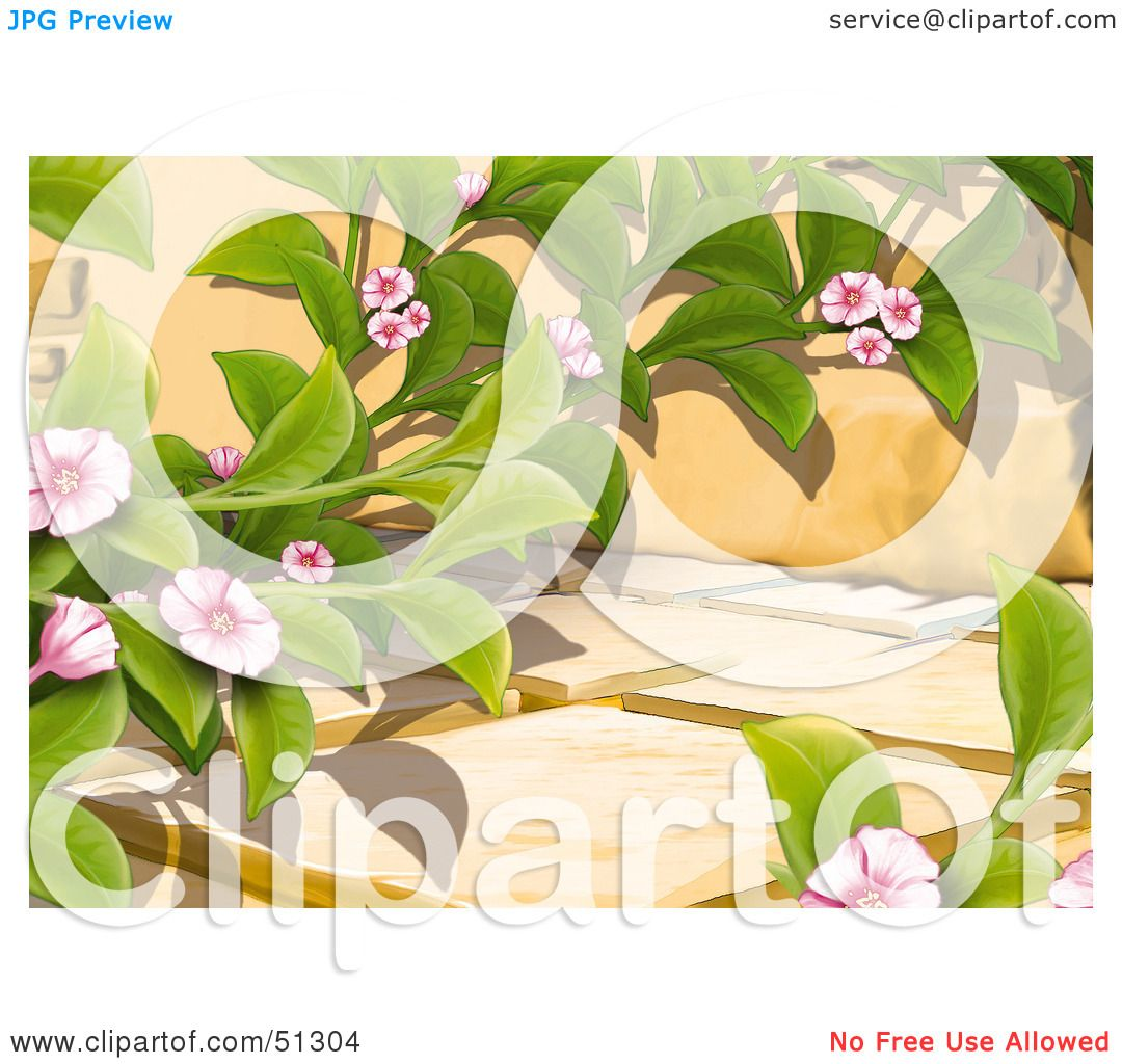 Clipart Illustration of a Creeping Plant With Pink Blooms On A.