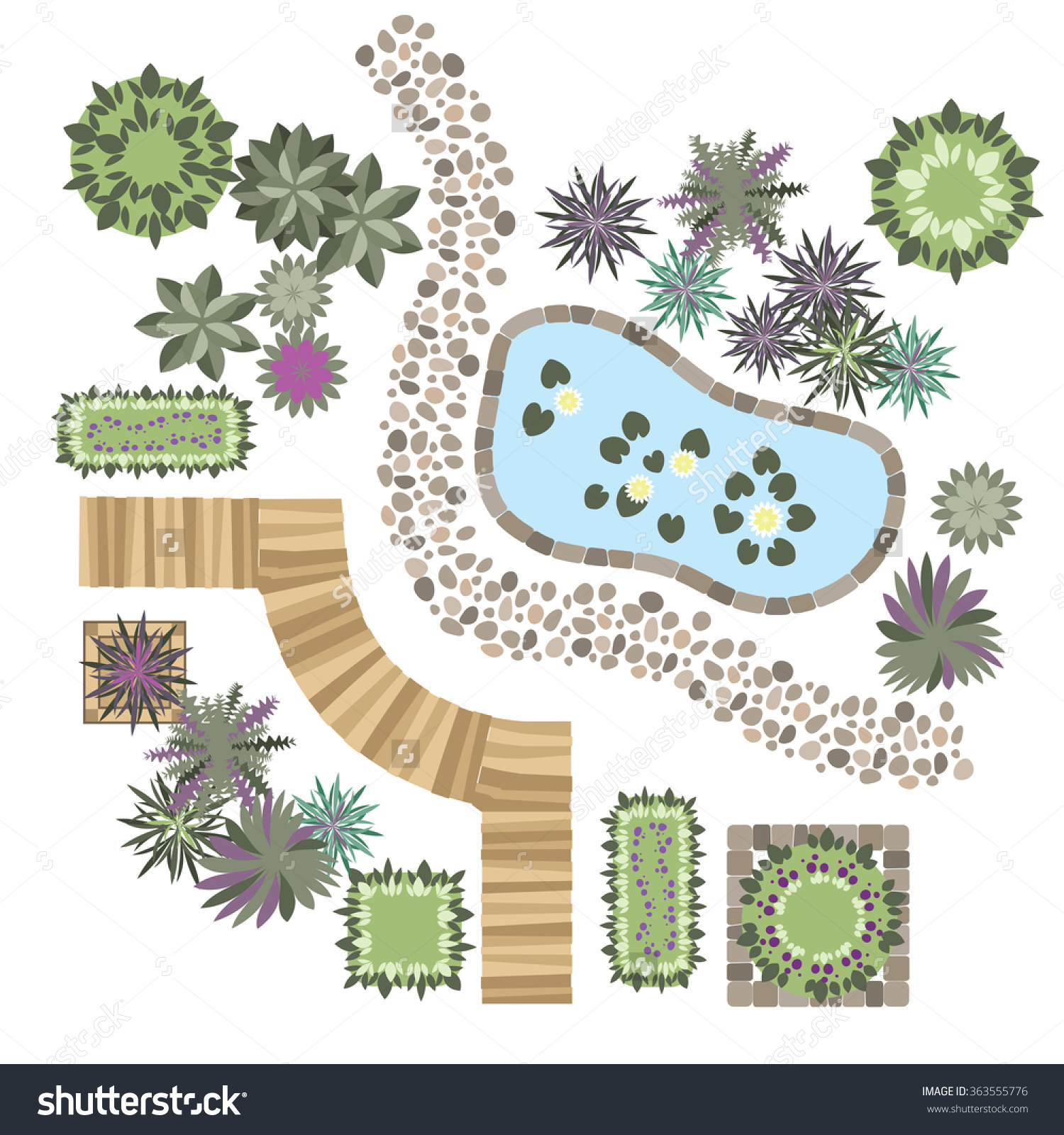 Set Vector Elements Landscape Design Different Stock Vector.