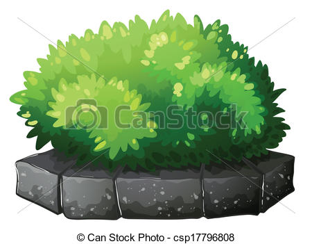 Vector Clipart of A plant above a stone.
