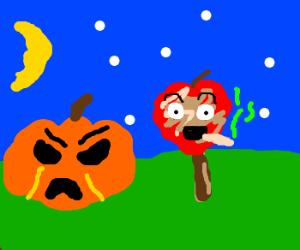 Angry pumpkin and a stoned caramel apple (drawing by ArekkusuNeko).