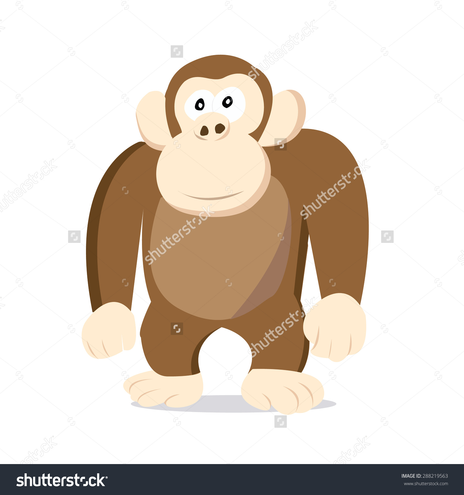 Stoned Looking Cartoon Brown Monkey Vector Stock Vector 288219563.