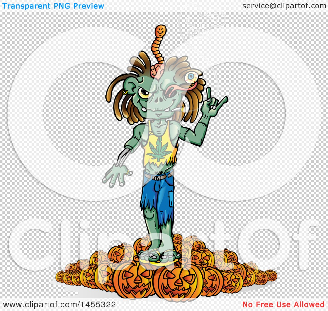 Clipart of a Cartoon Zombie Wearing a Pot Leaf Shirt and Smoking.