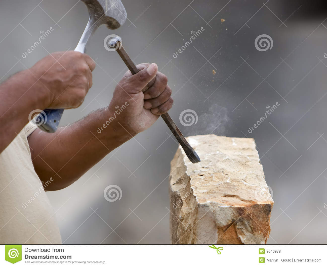 Stone Mason Shaping Block Of Stone Royalty Free Stock Photos.