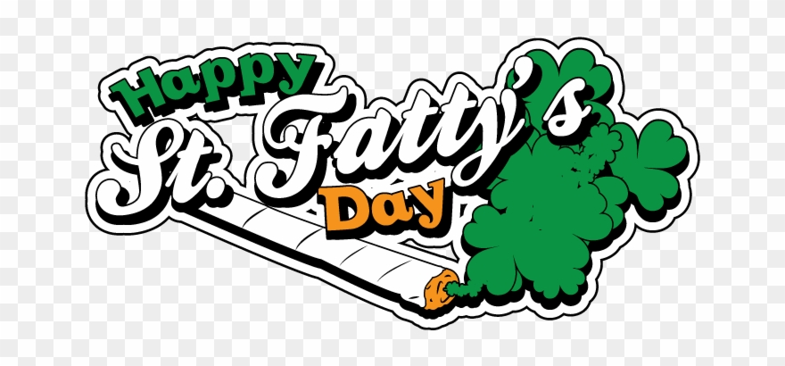 Happy St Fattys Day Weed Stoner Pot Bud Smoke Toke Clipart.