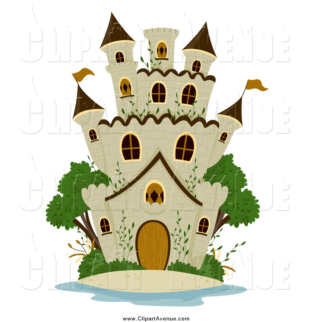 Avenue Clipart of a Stone Castle and Green Trees by BNP Design.