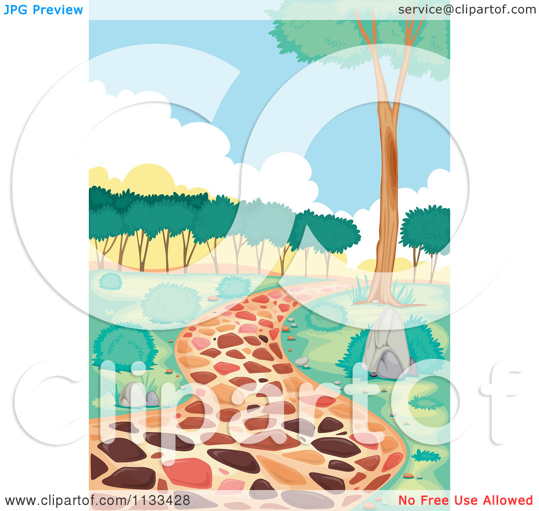 Cartoon Of A Stone Path And Trees.