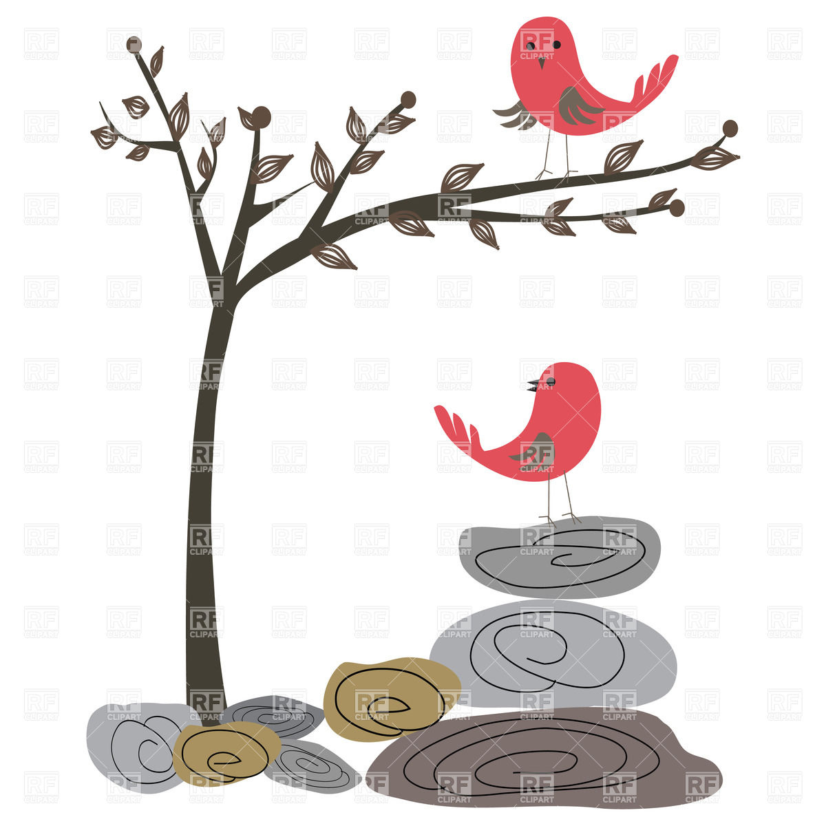 Two red birds, tree and stones Vector Image #21479.