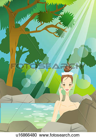 Stock Illustrations of Naked young woman in towel soaking in pool.