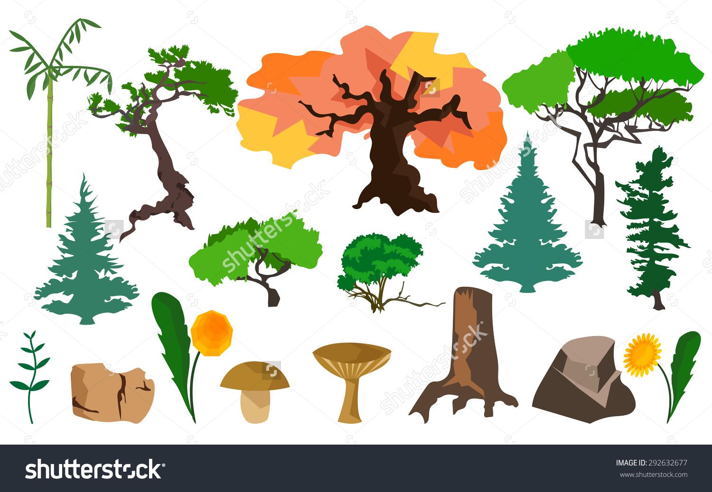 Set Different Plants Trees Fungi Stones Stock Vector 292632677.