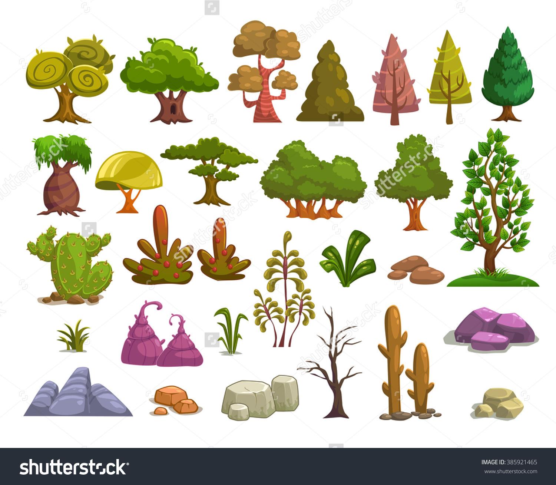 Cartoon Nature Landscape Elements Set Trees Stock Vector 385921465.