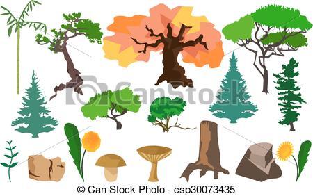 Vectors of Set plants trees, fungi and stones.