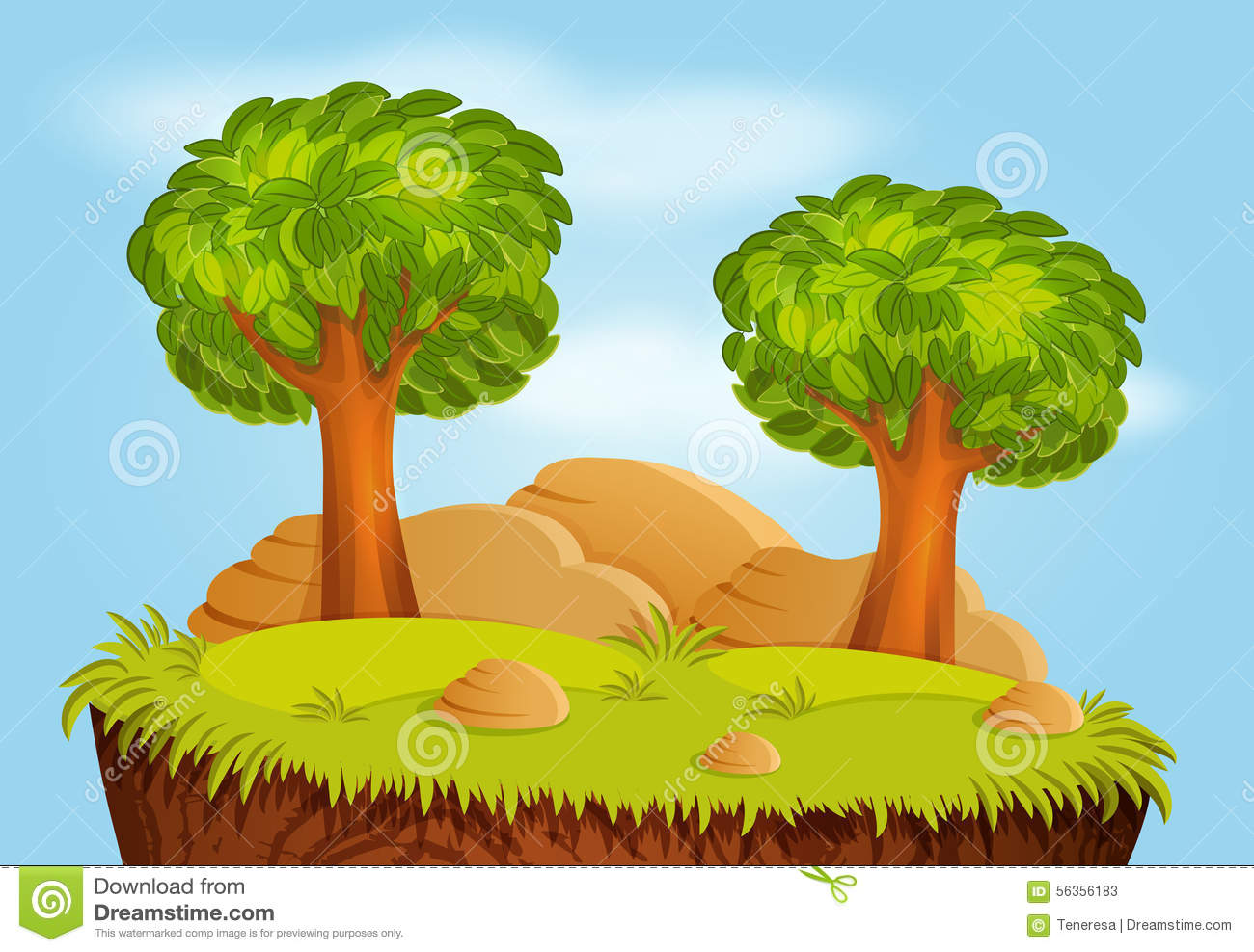 Nature Landscape With Trees And Stones Stock Vector.