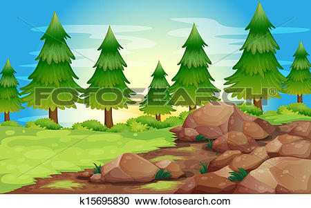 Clipart of Big stones and pine trees k15695830.