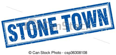 Vector Clipart of Stone Town blue square grunge stamp on white.