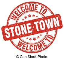 Welcome to stone town red round vintage stamp Vector Clipart.
