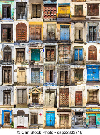 Stock Photography of 42 Front doors horizontal collage of Stone.