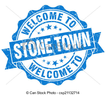 Clipart of welcome to Stone Town blue vintage isolated seal.