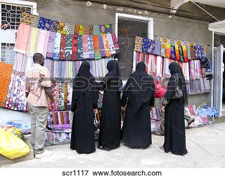 Picture of Africa. Zanzibar. Stone Town. Muslim women in.