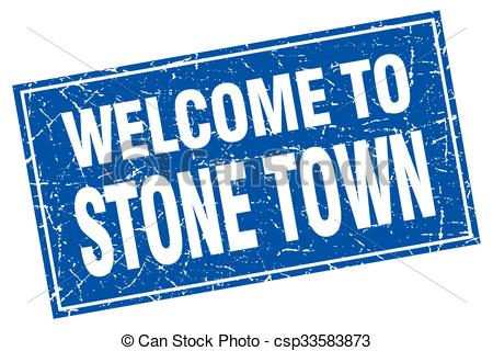 Vectors Illustration of Stone Town blue square grunge welcome to.