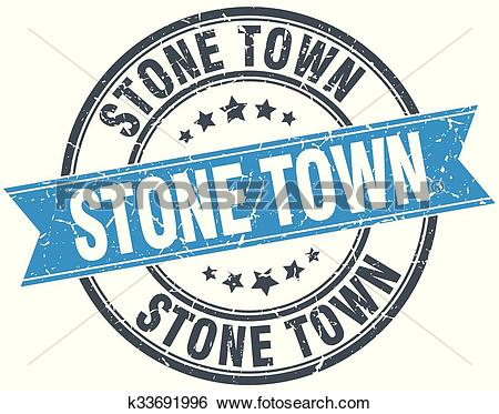 Clip Art of Stone Town blue round grunge vintage ribbon stamp.