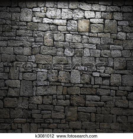 Clip Art of illuminated stone wall k3081012.