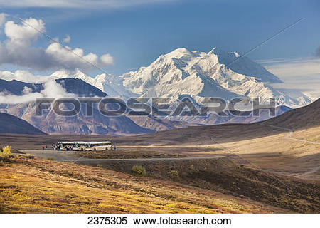 Stock Image of Tourists on buses stop at the Stoney Dome lookout.