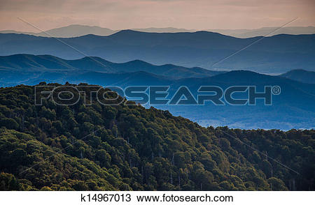 Stock Photo of Layers of ridges of the Blue Ridge Mountains, seen.