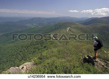 Stock Photo of hiking, Appalachian Trail, Shenandoah National Park.