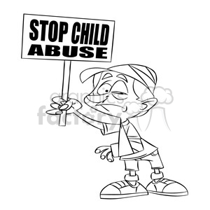 stop child abuse black and white clipart. Royalty.
