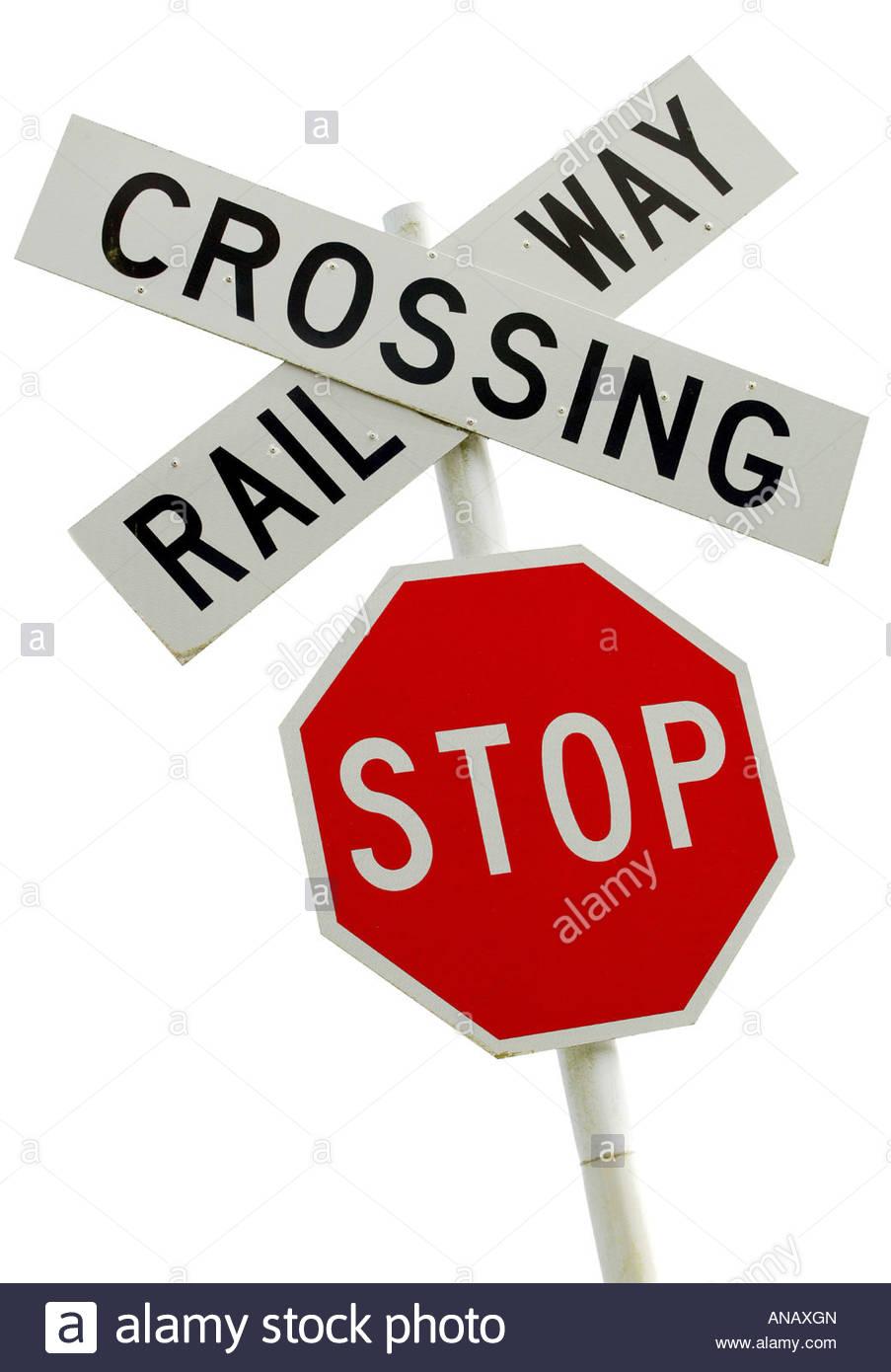 Stop! Give Way! Railway Crossing!, New Zealand Stock Photo.