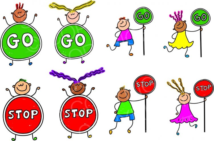Toddler Art Stop and Go Sign Kids Prawny Clipart.