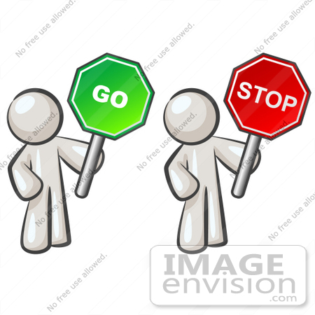 Clip Art Graphic of White Guy Characters Holding Stop and Go Signs.